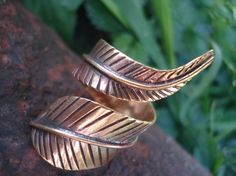 native american jewllery bronze ring feather ring leaf ring forest jewellery feather ring beautiful ring on Etsy, $36.00