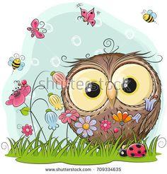 Buy Cartoon Owl on a Meadow by on GraphicRiver. Cute Cartoon Owl on a meadow with flowers and butterflies Cute Owl Drawing, Cute Drawings, Cartoon Owl Drawing, Owl Clip Art, Owl Art, Cartoon Mignon, Cute Owl Cartoon, Owl Kids, Owl Wallpaper