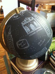 Chalkboard globe found at anthropologie store Kansas City!