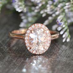 14k Rose Gold Halo Diamond Engagement Ring 9x7mm Oval White Topaz Gemstone Anniversary Ring (Bridal Wedding Ring Set Available)