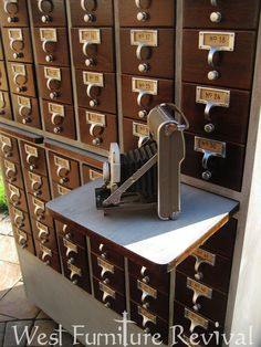 West Furniture Revival: CARD CATALOG REDO! DIY CHALKPAINT, AND FREE PRINTABLE VINTAGE LABELS-- love this