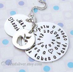 Teacher gift necklace - Handstamped charm jewelry - Quote stamp necklace - Apple charm necklace on Etsy, $69.00