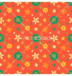 Seamless pattern with small retro flowers and berries vector - by Baksiabat on VectorStock®