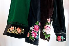 Sleeves of old womans jackets from Łowicz region decorated by hand embroidery