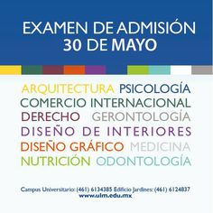 Próximo examen de admisión 30 de Mayo. ¿Tienes dudas?  Informes, fichas y fechas:  Tel (461) 6134385 ext 119 y 605