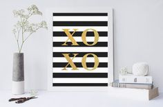 XOXO Instant download printable, wall art, faux gold, black stripes, home decor, digital download