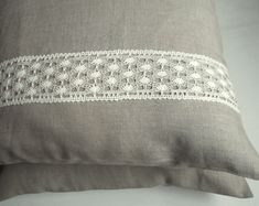 Bed organic linen pillow cover bedding natural washed softened queen linen case with linen lace  wedding gift 20x30 by IrenGarden on Etsy https://www.etsy.com/uk/listing/591901318/bed-organic-linen-pillow-cover-bedding