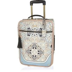 River Island NEW Small Suitcase Cream Four Wheel Pineapple Weekend Bag Cabin
