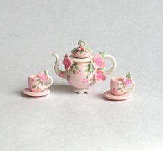 Miniature Shabby Pink Jeweled Blossom Tea Set by ArtisticSpirit, $39.50