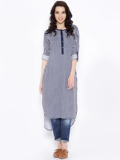 Kurta designs women - Buy Anouk White And Navy Striped High Low Kurta Apparel for Women from Anouk at Rs 899 Kurta Designs Women, Kurti Neck Designs, Salwar Designs, Blouse Designs, Kurta Style, Estilo Jeans, Dress Indian Style, Kurti Designs Party Wear, Indian Designer Outfits
