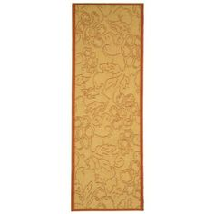 Safavieh CY2726-3201-210 Courtyard Collection 2-Feet 4-Inch by 9-Feet 11-Inch Indoor/ Outdoor Area Runner, Natural and Terracotta by Safavieh. $63.63. The high-quality polypropylene pile fiber adds durability and longevity to these rugs. The powerloomed construction add durability to this rug, ensuring it will be a favorite for a long time. This runner measures 2-feet 4-inch  by 9-feet 11-inch. 100% Polypropylene Pile. The modern style of this rug will give your room a ...