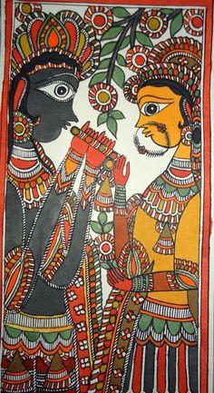 MIthila Painting of Lord Krishna playing flute and recreating with Radha by Pawan Jha, grandson of Padmashree Late Smt. Madhubani Art, Madhubani Painting, Outline Drawings, Art Drawings, Art Sketches, Indian Art Paintings, Easy Paintings, Acrylic Paintings, Beautiful Paintings