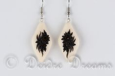 "Flower Earrings, Black and White Earrings, Victorian Goth Earrings, Polymer Clay Earrings, Polymer Clay Flowers, Baroque Inspired Earrings These Victorian Inspired earrings are called ""Let's Go To Venice!"""