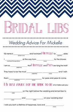 Bridal Mad Libs: You can never go wrong with a game of Mad Libs ($12). This version is about bridal advice for the couple and will be a fun keepsake for the bride to look back on.