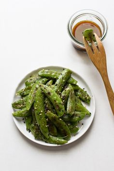 Roasted Sugar Snap Peas with Sesame Dipping Sauce | Edible Perspective