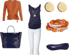 "Teacher Fashion | Teacher Style - White, Navy and Orange"" by ... 