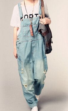 99100449da6 New Womens Ripped Hole Loose Pants Pockets Jeans Overalls Baggy
