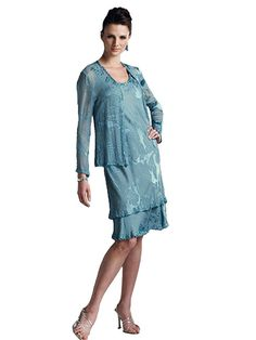 Two-piece tonal silk burnout dress set, sleeveless knee-length soft A-line tank dress with a two tiered skirt trimmed with hand-beading, matching cardigan style jacket with beaded trim.