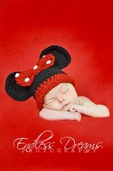 Minnie Mouse Newborn Crochet Hat **FREE SHIPPING**