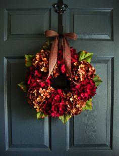 Fall Hydrangea Wreath  Wreaths for Door  Fall by HomeHearthGarden, $70.00