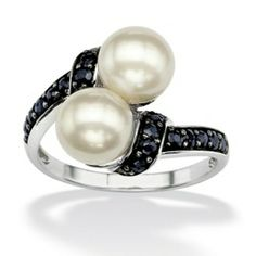 3/4 TCW MI.D.night Blue Genuine Sapphire and Freshwater Pearl Platinum Over Sterling Silver Ring at PalmBeach