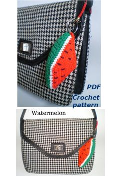 #Crochetpatternamigurumi #Watermelon#Cutekeychain  watermelon Keychains with charms  Rustic bag decor  Plushie decoration gift  Toys tutorial