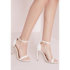 Missguided Barely There Strappy Heeled Sandals  Croc (22.585 CRC) ❤ liked on Polyvore featuring shoes, sandals, white, crocodile shoes, high heel sandals, high heel shoes, vegan sandals and snake print sandals