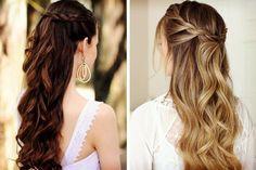 peinados de novia de pelo suelto con trenza