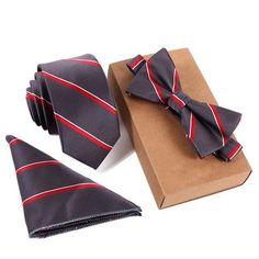 Slim Tie Set Men Bow Tie and Pocket Square Bow tie Necktie Handkerchief Man Hombre