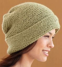 """Simple, free knit hat pattern ... I made a few of these hats with my friends. We made a 2"""" k2p2 ribbing pattern before we finished hat in garter stitch. Some we knitted ribbing in a different color ... Looks beautiful!"""