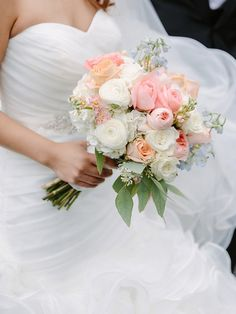 Gorgeous pastel spring wedding bouquet