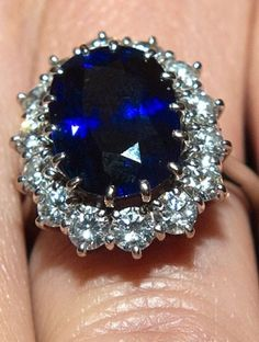 Diana, Princess of Wales engagement ring, now belongs to Catherine, Duchess of Cambridge - 5.0 carat midnight blue Ceylon Sapphire.