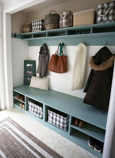 Ana White | #BEHRBOX Mudroom in a Closet - DIY Projects