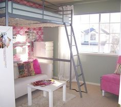 Tween Girl Room, This room was redesigned for my daughter. The room is only 10 x 10 so making the most of a small space . Cute Bedroom Ideas, Awesome Bedrooms, Cool Rooms, Bedroom Loft, Dream Bedroom, Bedroom Decor, Ikea Teen Bedroom, Master Bedroom, Teen Girl Bedrooms
