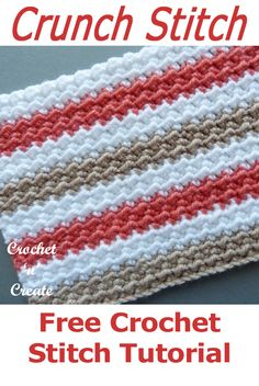 Learn crochet crunch stitch from my free crochet tutorial on crochetncreate crochetstitches crochettutorials freecrochet crochet howto crochetpatterns freecrochetpatterns easypatterns freepatterns forbeginners diy crafts Crochet Stitches Free, Crochet Motifs, Tunisian Crochet, Afghan Crochet Patterns, Learn To Crochet, Stitch Patterns, Knitting Patterns, Crochet Dishcloths Free Patterns, Crochet Stitches For Blankets