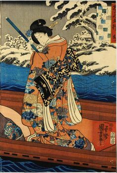 Colour woodblock print triptych entitled Mizu (Water), depicting Prince Genji and ladies on a boat, from the series Mitate go-gyo (The five elements): Japan, by Utagawa Kuniyoshi, 1851 - 1852