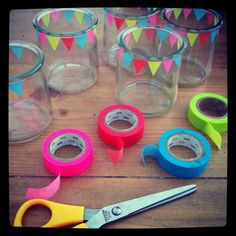 simple & cute masking tape decor for votives- would work equally well with drinking glasses, serving bowls etc
