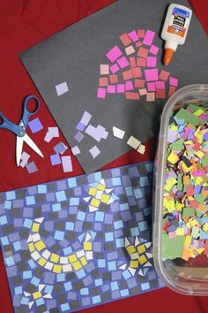 Glue small colored paper squares onto the black paper to create paper mosaic crafts. School Age Crafts, School Age Activities, Art School, Art Activities For Kids, Activities For 6 Year Olds, Painting Activities, Art Therapy Activities, Middle School Art, School Kids