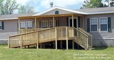 This mobile home porch design incorporates an accessible ramp without taking away the curb appeal. By Ready Decks for Front Porch Ideas. (Diy Step Mobile Home) Porch With Ramp, House With Porch, Mobile Home Porch, Mobile Home Living, Remodeling Mobile Homes, Home Remodeling, Bathroom Remodeling, Manufactured Home Porch, Manufactured Housing