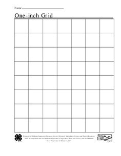 Graph Paper: Full Page Grid - 1 inch squares - 7x10 boxes ...