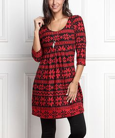 Look at this #zulilyfind! Black & Red Snowflake Empire-Waist Tunic Dress - Plus Too #zulilyfinds