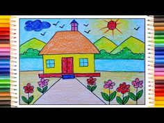 Kids Discover How to draw simple scenery Village scenery drawing for beginners Village drawing House Drawing For Kids, Basic Drawing For Kids, Scenery Drawing For Kids, Drawing Lessons For Kids, Easy Drawings For Kids, How To Make Drawing, Drawing For Beginners, Art Lessons, Art For Kids
