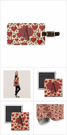 Red Hearts MONOGRAM gifts - Add ANY letter