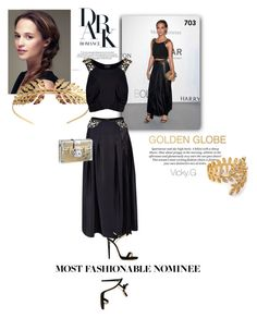 """""""Set # 703 / Dress Your Favorite Golden Globe Nominee : Alicia Vikander"""" by vassiliki-g ❤ liked on Polyvore featuring H&M, GALA, Tuleste, Louis Vuitton, Gorjana, Jimmy Choo, GoldenGlobes and contestentry"""