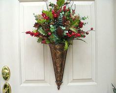 Christmas Wreaths for Door, Christmas Wreath Decor, Holiday Christmas Wreaths, Double Doors by AWorkofHeartSA, $80.00