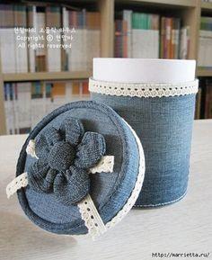 Caja de regalo reciclando un pantalón de mezclilla Tin Can Crafts, Tape Crafts, Fun Crafts, Sewing Crafts, Diy And Crafts, Arts And Crafts, Recycle Cans, Flowers In Jars, Crochet Flower Tutorial