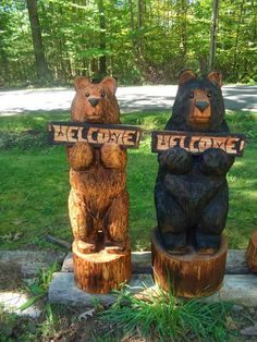 36 Chainsaw Carved Welcome Bear by carvnstitch on Etsy, $225.00 this would be wonderful in my front yard but to expensive! damn