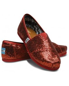 Red glitter Toms, $48. Possible the only reason to get Toms would be to pair it with a Dorthy costume.