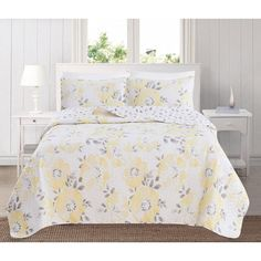 Haig Floral Printed Reversible Quilt Set Yellow And Gray Comforter, Yellow Bedding Sets, Colorful Bedding, Comforter Cover, Comforter Sets, Duvet Cover Sets, Floral Comforter, Thing 1, Modern Colors