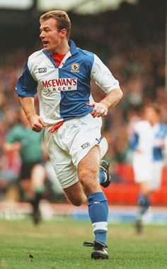Alan Shearer of Blackburn Rovers in Blackburn Rovers Fc, Alan Shearer, Premier League Teams, World Football, Newcastle, Growing Up, Soccer, Goals, Running